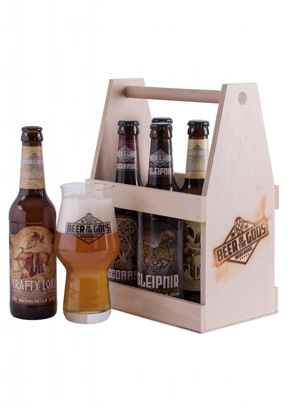 A Handful of Gods - 5 Beers with Glass in a Wooden Crate